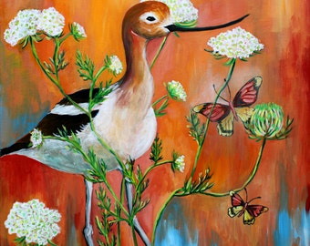 Avocet & Queen Ann's Lace, GREETING CARD - avocet painting, orange white blue, wild flower painting, bird art