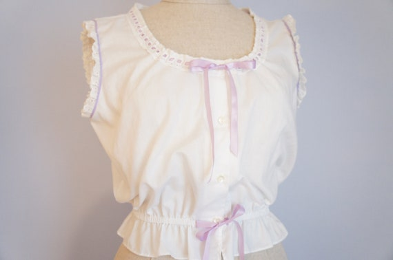 Vintage Chemise Shrug - White Cotton Belly Shirt - Romatic Night Shirt - Retro Clothing - Eyelet Nightgown - Pin Up Girl Night Gown