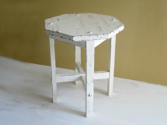Vintage Shabby White Table Plant Stand  - Cottage Style