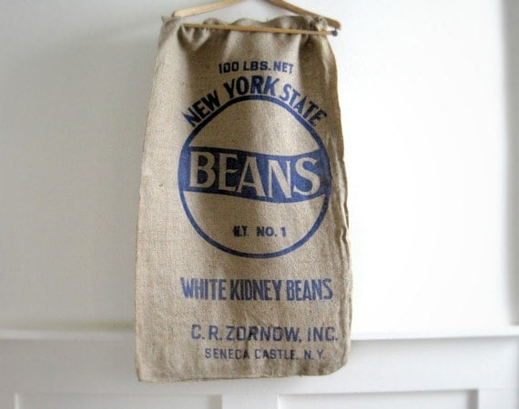 Reserved Listing for Deb - 2 Vintage Burlap Bags - New York State Beans