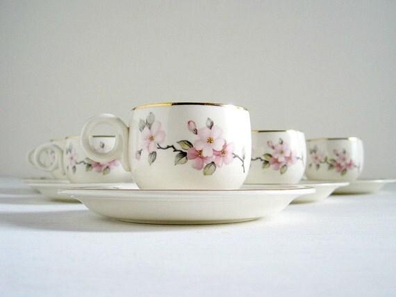 Vintage China Demitasse Set - Apple Blossom Homer Laughlin
