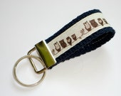 MINI Key Fob, Key Chain, Wristlet - Tiny Owls on Navy