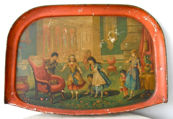 Victorian CHILDS TRAY Wonderful Colorful Lithograph of Children at Play 19th Century