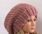 Chunky Knit Dusty Rose Slouchy Beret Hat