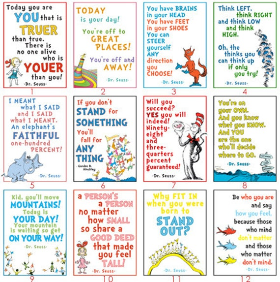 8x10 Pack Of 24 Dr Seuss LDS Youth DIGITAL Printable