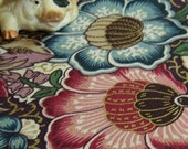 Rose, pink, blue, green, yellow. French countryside floral print  gold accents. Large scrap of beautiful upholstery weight  fabric.