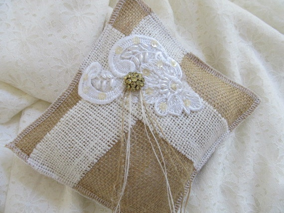 Gorgeous Burlap and Lace Decorative or Ring Bearer Pillow... Rustic and Elegant...Wedding...