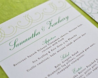 Wedding Menu Card: Vintage Bohemian Green Garden with Chartreuse, Spring and Emerald green