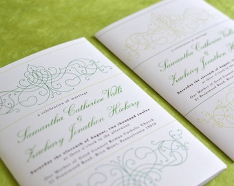 Bohemian Wedding Program: Vintage Bohemian Green Garden with Chartreuse, Emerald Green, and Spring Green