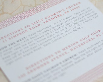 Large Invitation Insert: Woven Art Deco Reception Card, Directions Card or Invitation Insert