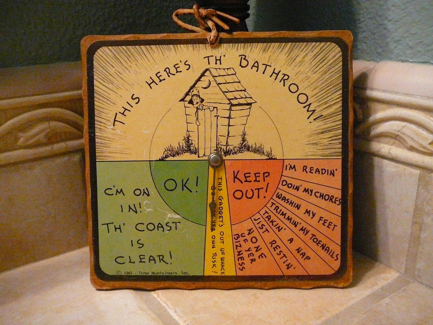 Vintage Bathroom Sign 1943 Collectible Three Mountaineers