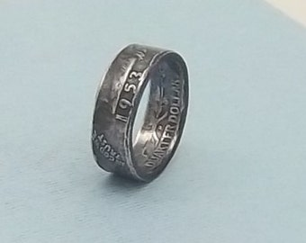 Silver coin ring washington quarter year 1953 size 8  90% fine silver ring jewelry