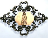 Antique Brooch Engraved with the Holy Virgin Mary in Goldplating