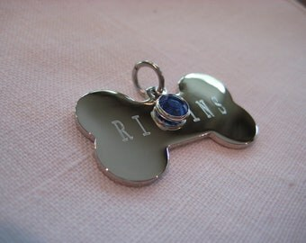 Pet Id Tag- Dog Bone with Crystal ( Gold or Silver finish)