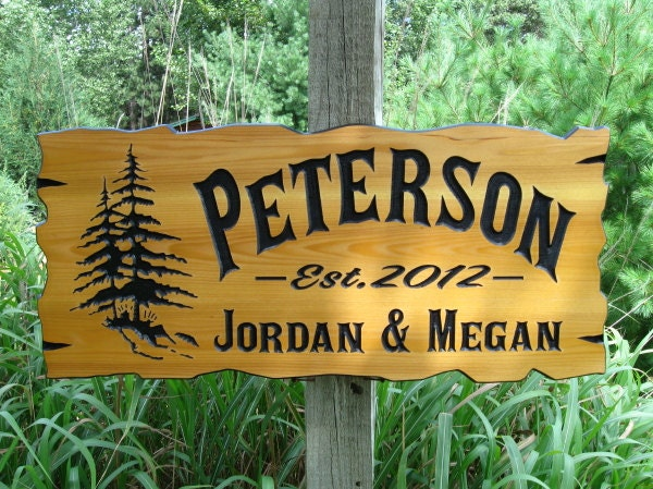 personalized cabin signs 30 x 14 routed wood