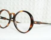 Vintage 60s Glasses 1960s Round Eyeglasses Mod Oversize Tortoise Circle Horn Rim Brown NOS 50/20 Unisex Frame Universal Optical