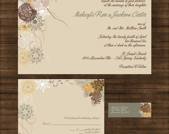 Custom Fir Tree and Pine Cones Wedding Invitation Suite with RSVP cards and address labels
