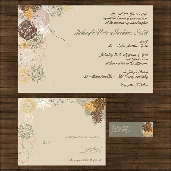 winter wedding invitation suite pine cones and fir trees
