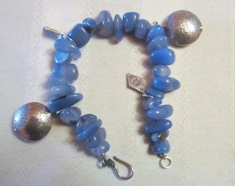 Sterling Silver Blue Chalcedony Bracelet