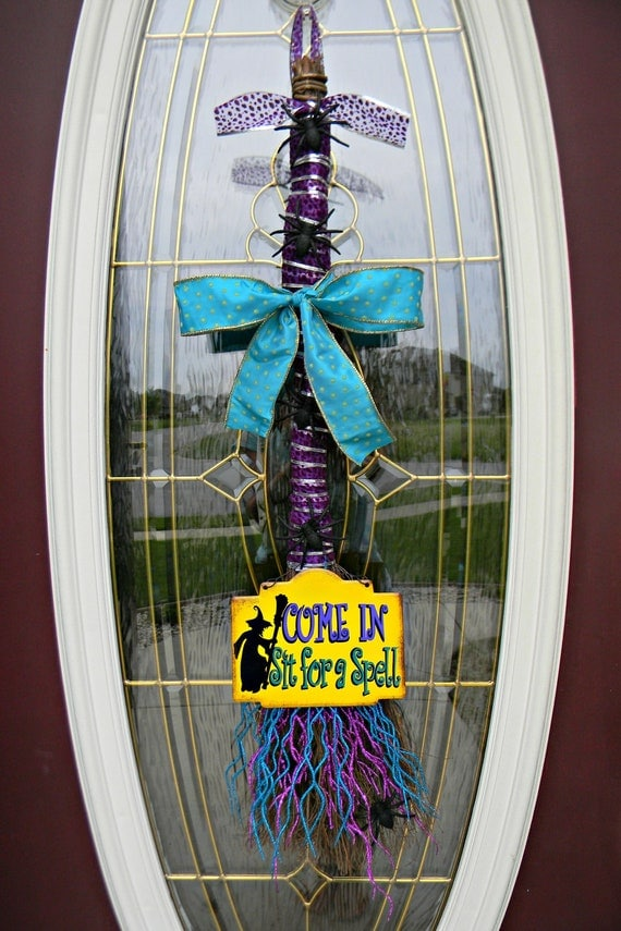 "Halloween Holidays Broom Swag Door Decor..""Sit For A Spell"" SALE"