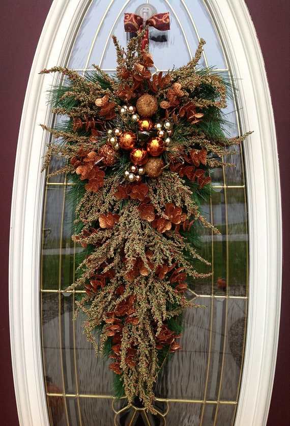 "Christmas Wreath Holiday Door Wreath Teardrop Swag Decor..""Copper Christmas"""