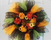 Autumn Wreath in Mesh with Mums and Berries
