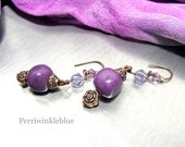 Enchanting Renaissance Earrings, Purple Stone, Crystals and Antiqued Copper