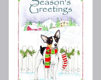 Rat Terrier Christmas Cards Box of 16 Cards & Envelopes