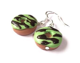 Donut Earrings ( Polymer Clay doughnut miniature food green earrings dessert earrings doughnut earrings miniature donut faux dessert food )