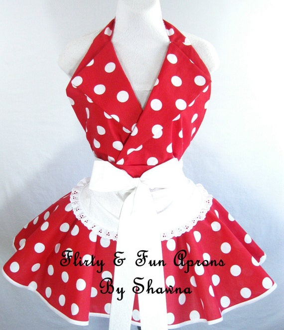 Retro Pin Up I Love Lucy Costume Apron with Minnie Mouse Polka Dots