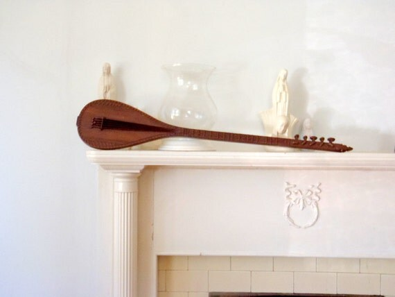 almost 3 Feet Long Vintage Setar Guitar Wall Hanging Sculpture