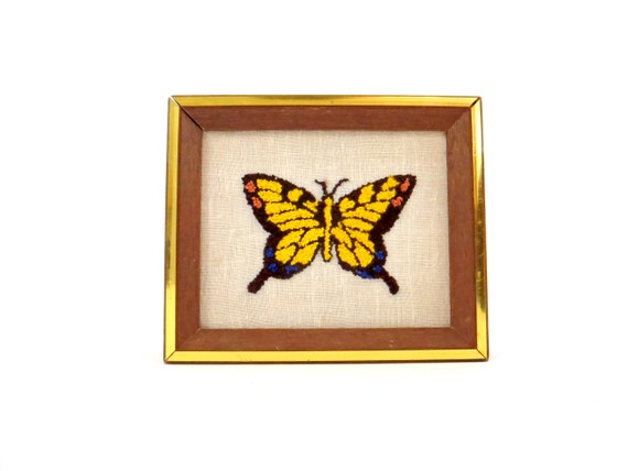 Needlework Butterfly Shadowbox Style Wall Hanging Picture