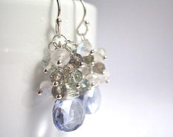 Blue Quartz Earrings, Moss Aquamarine, Moonstone and Labradorite Sterling Silver Gemstone Earrings