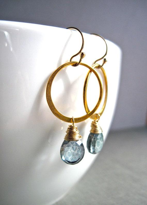 Teal Quartz Gemstone Jewelry, Blue Green Earrings with Gold Ring, Teal Green Gemstone Dangle Earrings