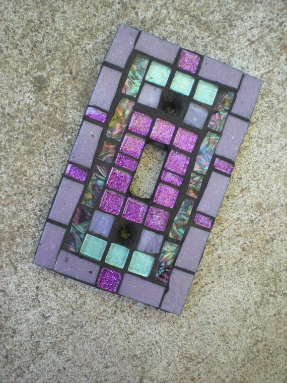 Mosaic Light Switch Cover - Lavender, Purple, and Aqua Glass Switchplate