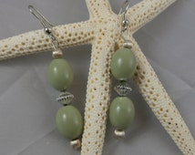 Silver and Olive Green Bead Dangle Earrings