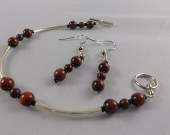 Red Tiger Eye Stone and Silver Bracelet and Earring Set