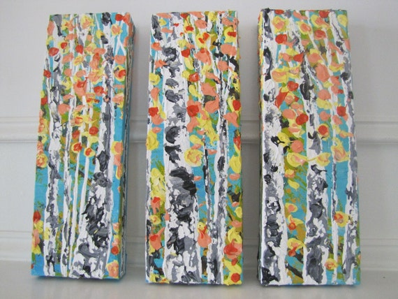 MADE TO ORDER: Original Colorful Pastel Autumn Fall Aspen Birch Tree Woodland Forest Art Painting