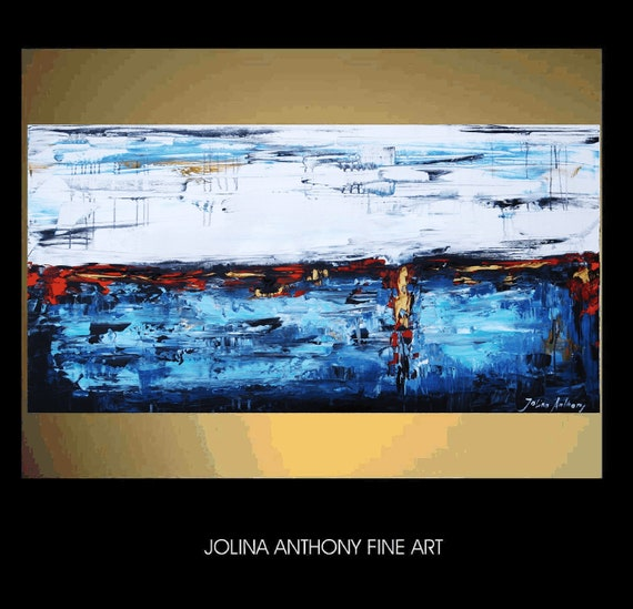 """48"""" original turquise,blue,gold red,creme abstract landscape  painting from listed artist Jolina Anthony fast shipping"""