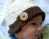 Baby Knit Beanie with Wooden Button, Cream & Brown