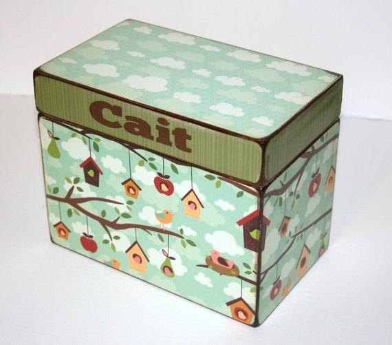 Recipe Box Birdhouses and Clouds Custom Handmade Personalized Wood 4x6 Recipe Box Address Trinket Box
