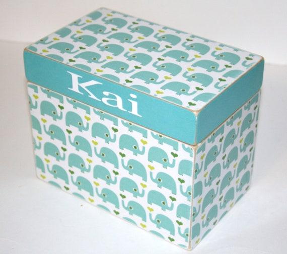 baby shower card box blue elephant box 4x6 recipe box boys keepsake