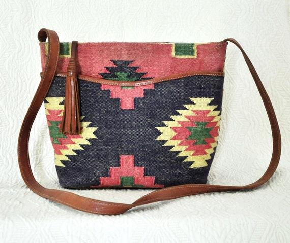Vintage Kilim Navajo Print Purse Long Strap