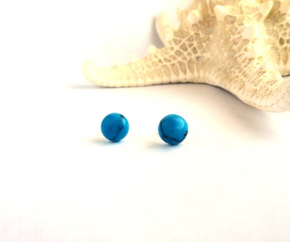 Turquoise earrings - blue gemstone studs, post - everyday small beach set - ocean sky blue - minimalist, retro mod jewelry gift for her