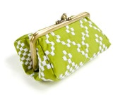 Embroidered Snowflakes Bright Green Capacious Pouch