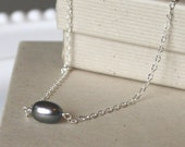 Minimal Necklace Black Freshwater Pearl and Sterling Silver, Tanzanite accents