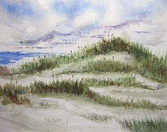 Sand Dunes, 11x15 original watercolor painting beach art watercolor art beachscape beach artwork sand dunes beach grass original art