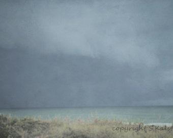 Beach Photograph Storm Skies Calm Sea Green Water Pale hues of Brown Blue Green Wall Art 8x12
