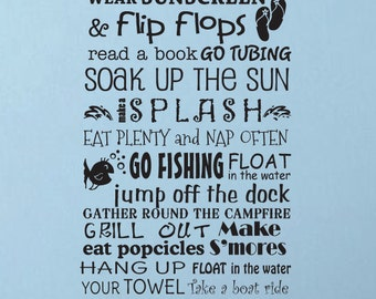 Lake Rules Beach Cottage Rules vinyl wall decal art