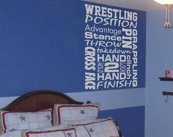 Wrestling subway art words vinyl  wall decal